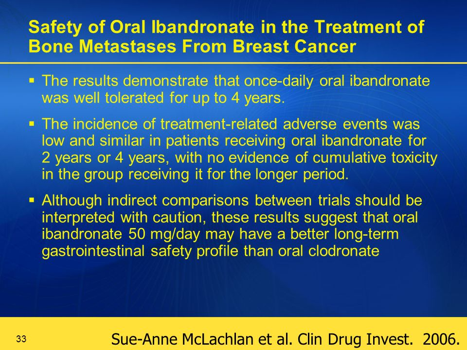 33 Safety of Oral Ibandronate in the Treatment of Bone Metastases From Breast Cancer The results demonstrate that once-daily oral ibandronate was well tolerated for up to 4 years.