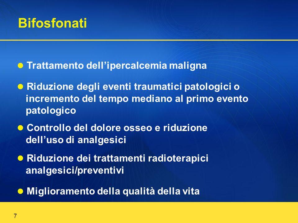 7 Trattamento dellipercalcemia maligna Riduzione degli eventi traumatici patologici o incremento del tempo mediano al primo evento patologico Controll