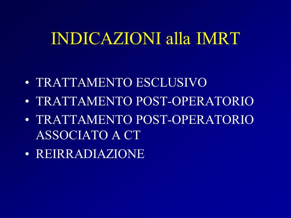 INDICAZIONI alla IMRT TRATTAMENTO ESCLUSIVO TRATTAMENTO POST-OPERATORIO TRATTAMENTO POST-OPERATORIO ASSOCIATO A CT REIRRADIAZIONE
