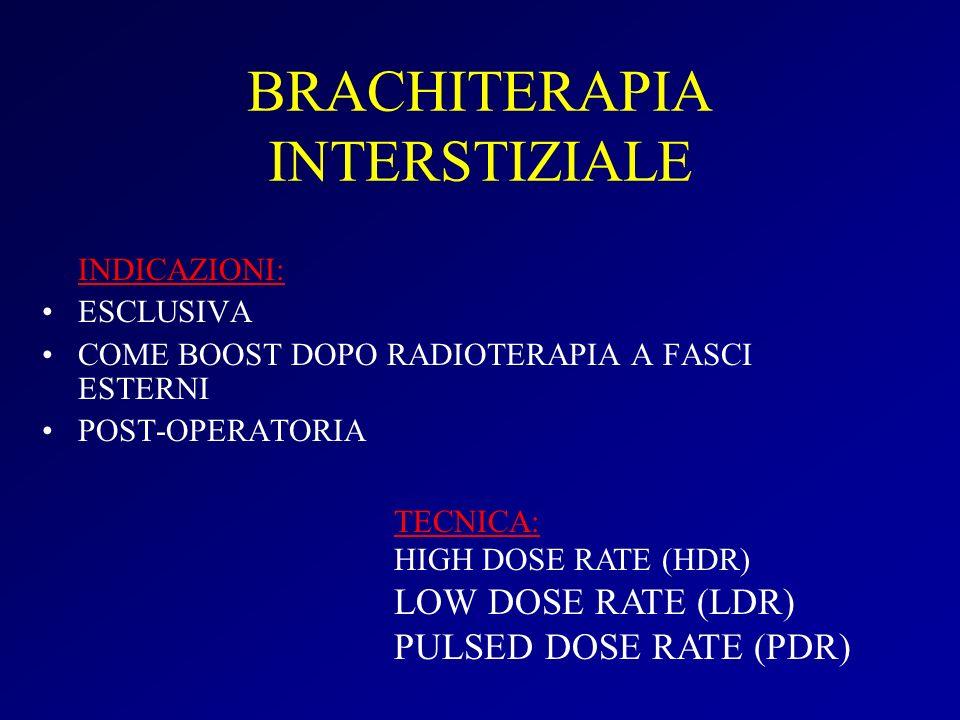 BRACHITERAPIA INTERSTIZIALE INDICAZIONI: ESCLUSIVA COME BOOST DOPO RADIOTERAPIA A FASCI ESTERNI POST-OPERATORIA TECNICA: HIGH DOSE RATE (HDR) LOW DOSE RATE (LDR) PULSED DOSE RATE (PDR)