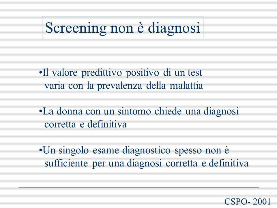 CSPO- 2001 Screening non è diagnosi Il valore predittivo positivo di un test varia con la prevalenza della malattia La donna con un sintomo chiede una