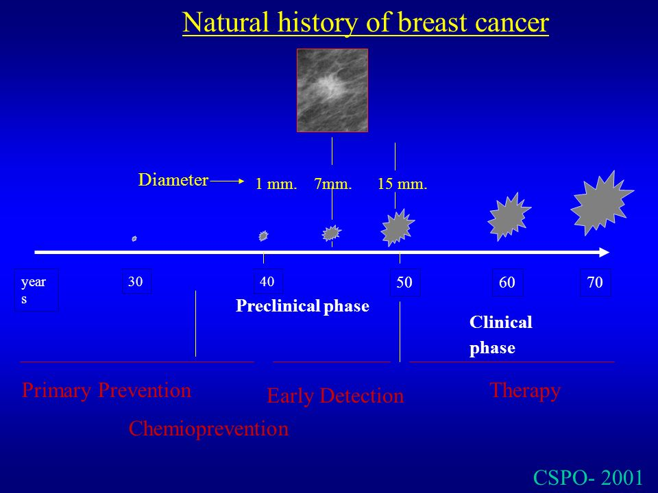 CSPO- 2001 Preclinical phase Clinical phase year s 3040 5070 Natural history of breast cancer 60 Primary Prevention Early Detection Therapy 7mm. Diame