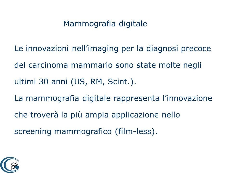 Mammografia digitale Le innovazioni nellimaging per la diagnosi precoce del carcinoma mammario sono state molte negli ultimi 30 anni (US, RM, Scint.).