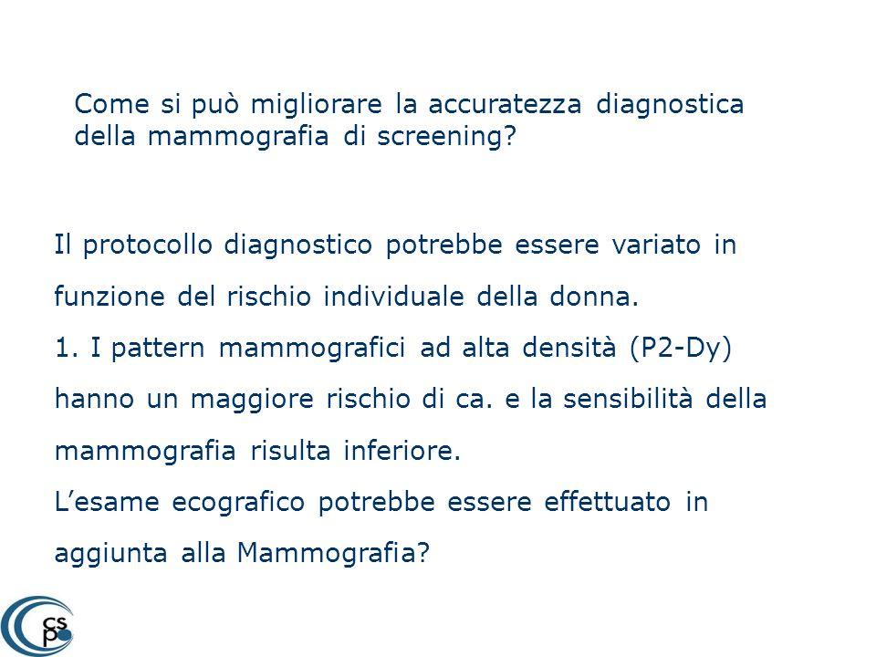 Come si può migliorare la accuratezza diagnostica della mammografia di screening? Il protocollo diagnostico potrebbe essere variato in funzione del ri