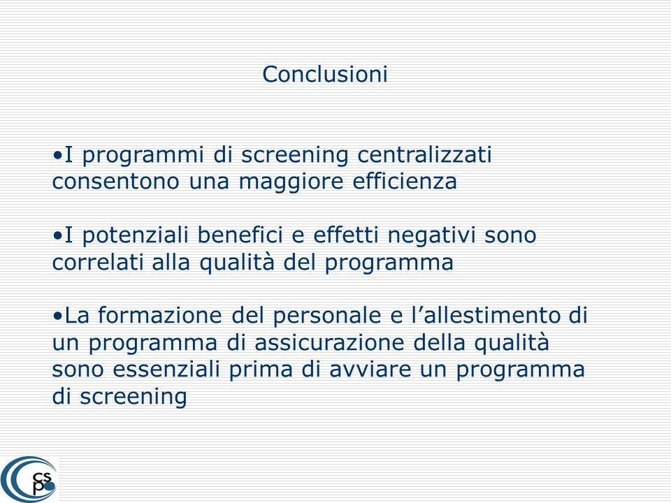 Conclusioni I programmi di screening centralizzati consentono una maggiore efficienza I potenziali benefici e effetti negativi sono correlati alla qua