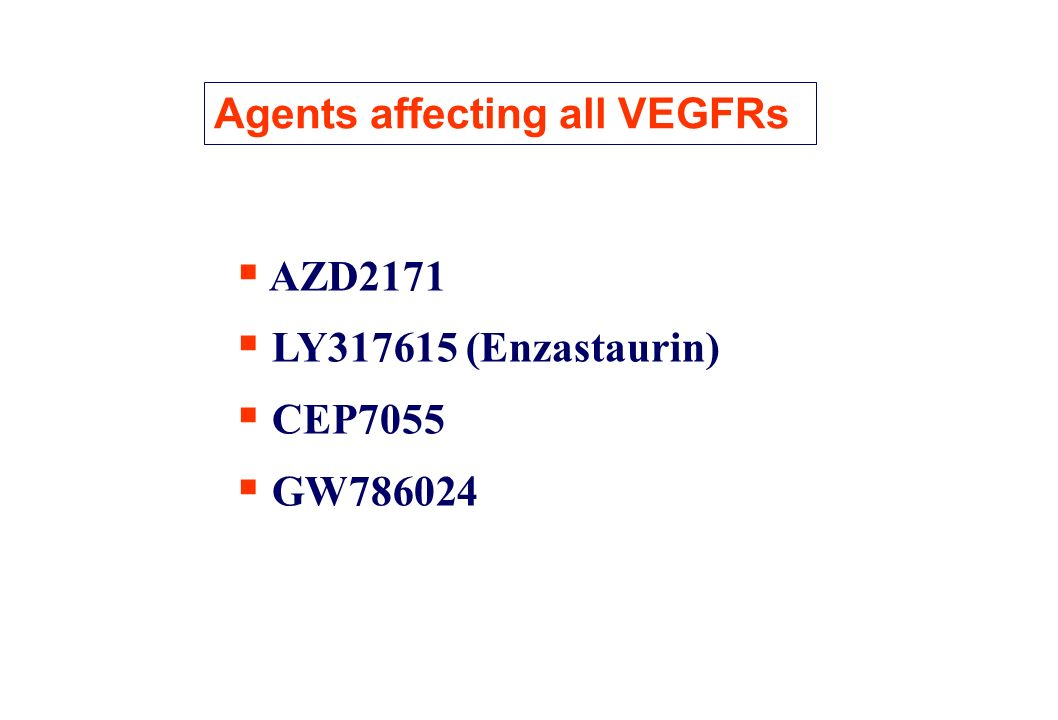 AZD2171 AZD2171 is an oral therapy with potential application in multiple tumor types AZD2171 has activity against VEGF receptors 1, 2 & 3- No activity on EGFR Phase I clinical studies in refractory solid tumors underway Manageable toxicity in early phase I AZD2171 VEGFR3 (Flt-4) VEGFR1 (Flt-1) VEGFR2 (KDR)