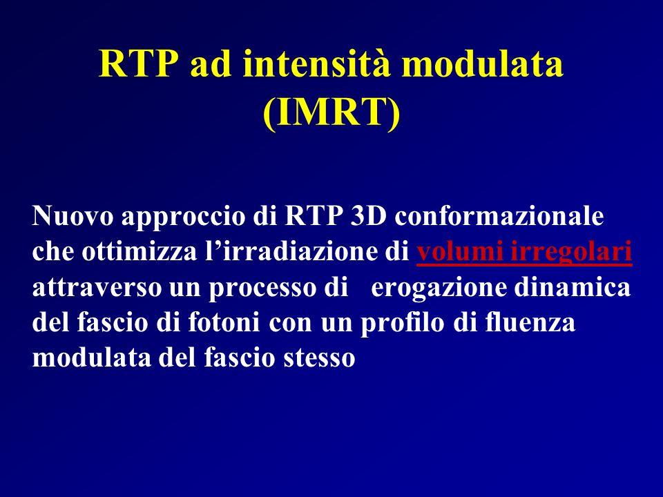 RTP ad intensità modulata (IMRT) Nuovo approccio di RTP 3D conformazionale che ottimizza lirradiazione di volumi irregolari attraverso un processo di