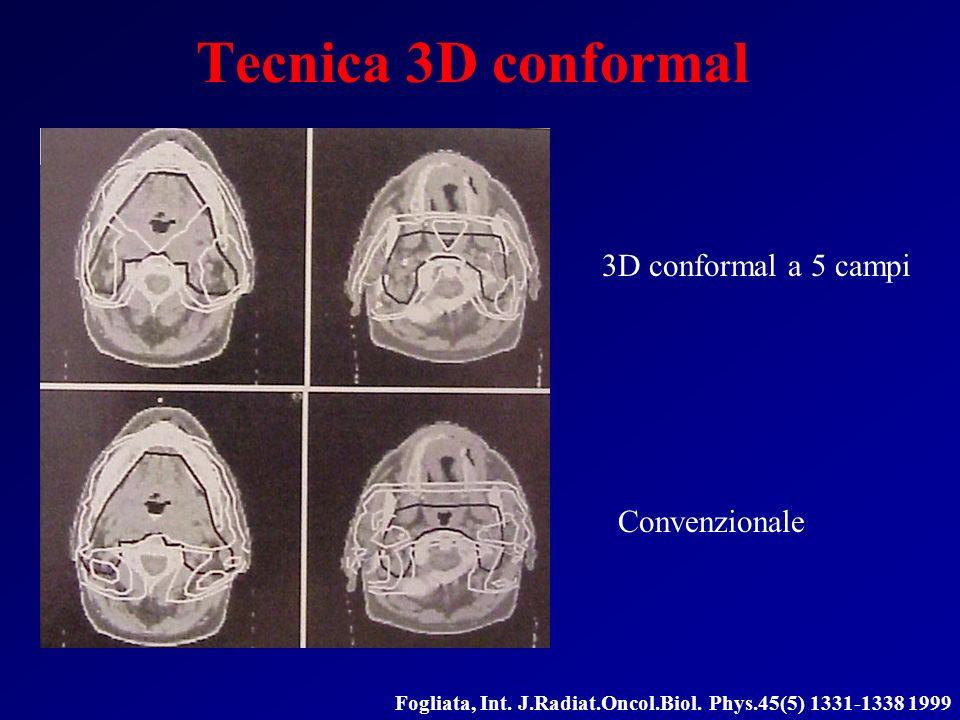 Tecnica 3D conformal 3D conformal a 5 campi Convenzionale Fogliata, Int. J.Radiat.Oncol.Biol. Phys.45(5) 1331-1338 1999