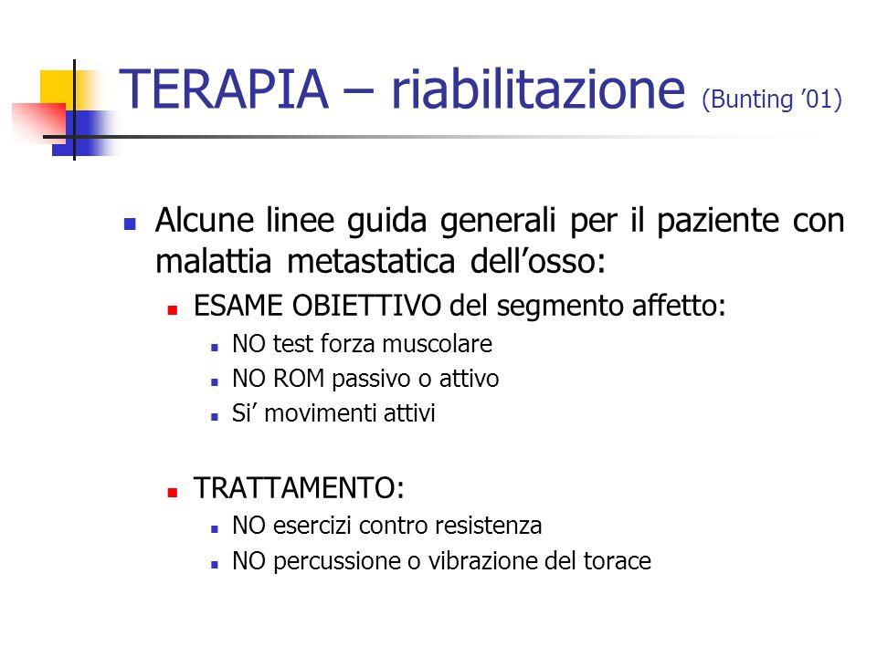TERAPIA – riabilitazione (Bunting 01) Alcune linee guida generali per il paziente con malattia metastatica dellosso: ESAME OBIETTIVO del segmento affe