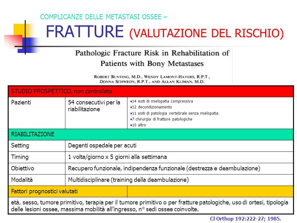 COMPLICANZE DELLE METASTASI OSSEE – FRATTURE (VALUTAZIONE DEL RISCHIO) STUDIO PROSPETTICO, non controllato Pazienti54 consecutivi per la riabilitazion