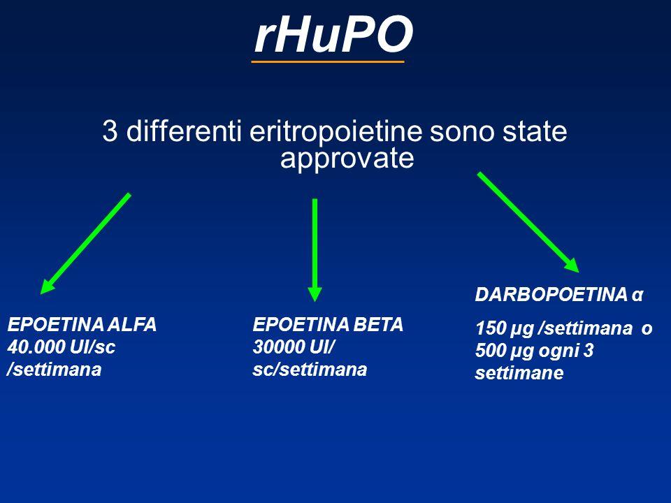 rHuPO 3 differenti eritropoietine sono state approvate EPOETINA ALFA 40.000 UI/sc /settimana EPOETINA BETA 30000 UI/ sc/settimana DARBOPOETINA α 150 µ