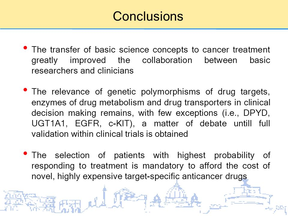 Conclusions The transfer of basic science concepts to cancer treatment greatly improved the collaboration between basic researchers and clinicians The