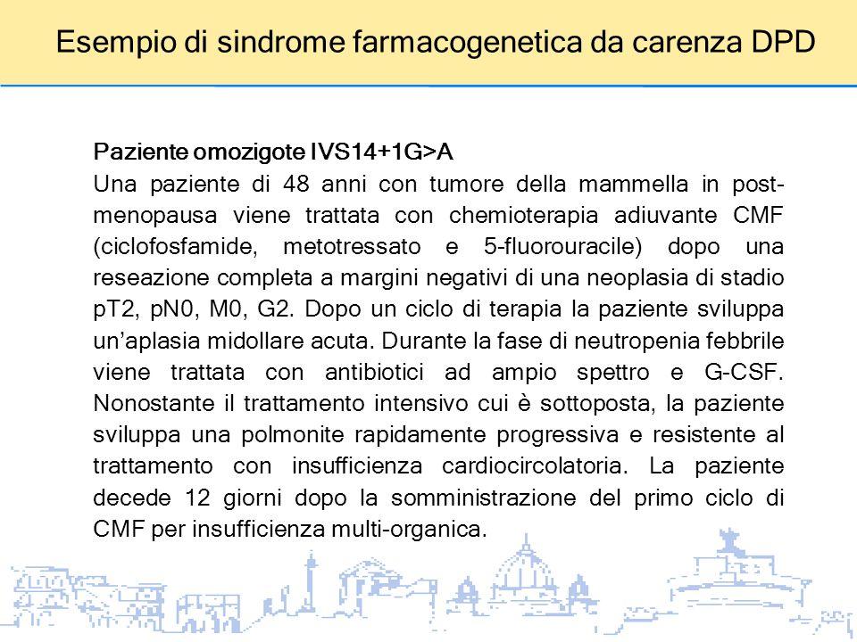 Esempio di sindrome farmacogenetica da carenza DPD Paziente omozigote IVS14+1G>A Una paziente di 48 anni con tumore della mammella in post- menopausa