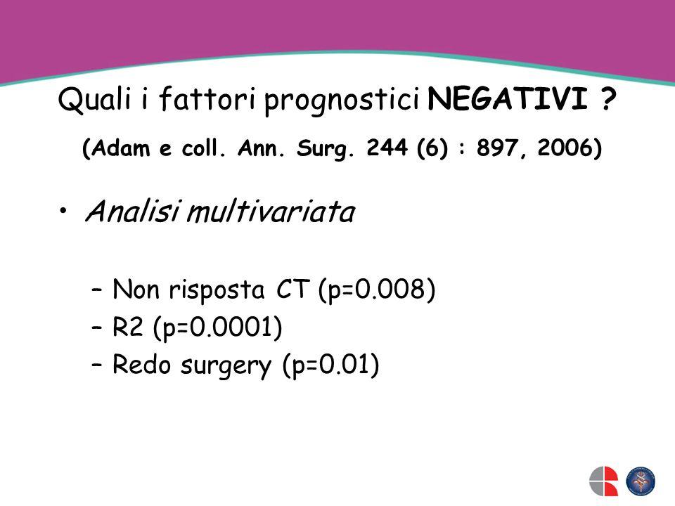 Quali i fattori prognostici NEGATIVI ? (Adam e coll. Ann. Surg. 244 (6) : 897, 2006) Analisi multivariata –Non risposta CT (p=0.008) –R2 (p=0.0001) –R