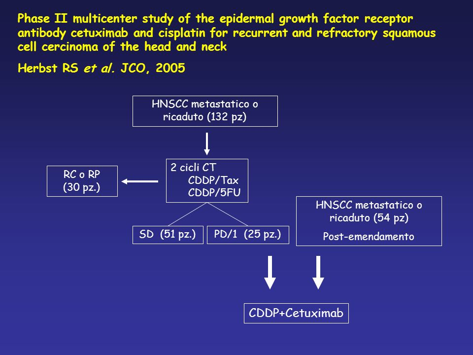 Phase II multicenter study of the epidermal growth factor receptor antibody cetuximab and cisplatin for recurrent and refractory squamous cell cercinoma of the head and neck Herbst RS et al.