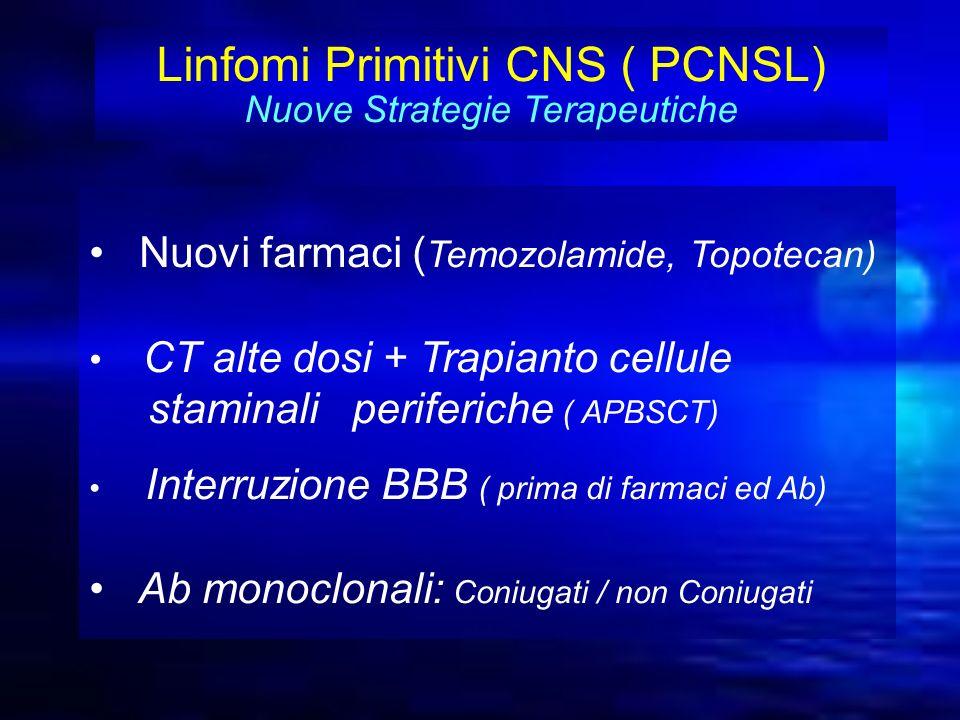 Linfomi Primitivi CNS ( PCNSL) Nuove Strategie Terapeutiche Nuovi farmaci ( Temozolamide, Topotecan) CT alte dosi + Trapianto cellule staminali perife
