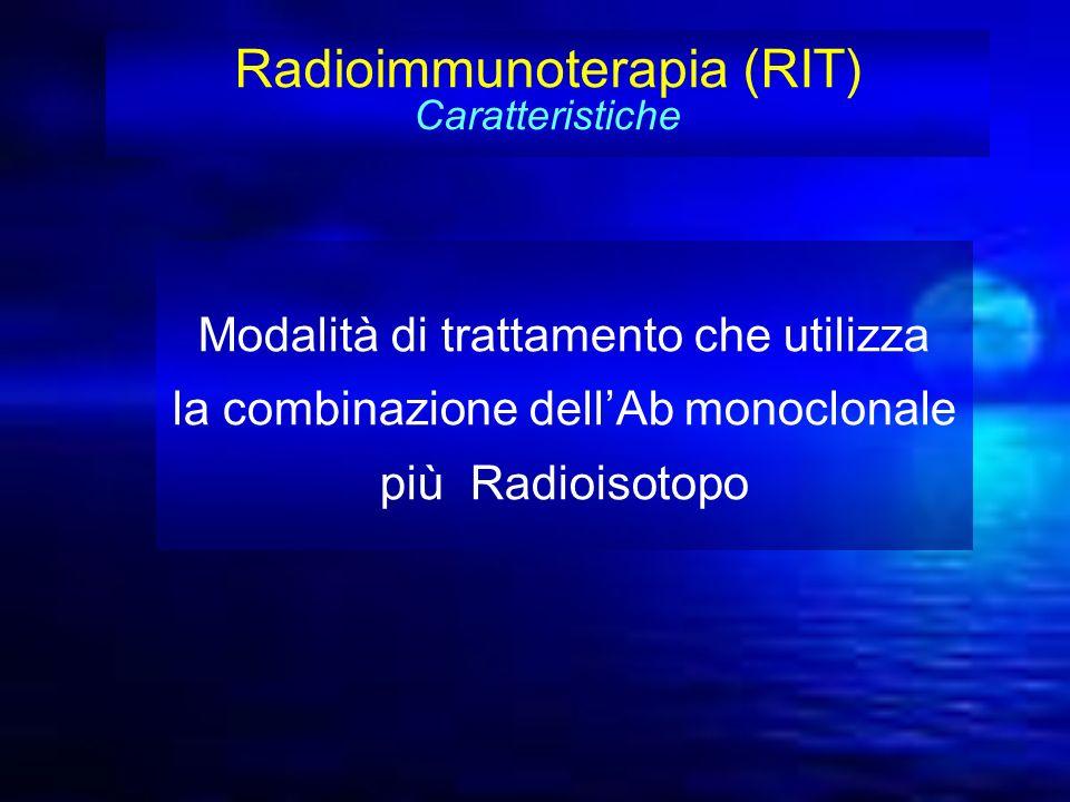 Radioimmunoterapia (RIT) Caratteristiche Modalità di trattamento che utilizza la combinazione dellAb monoclonale più Radioisotopo