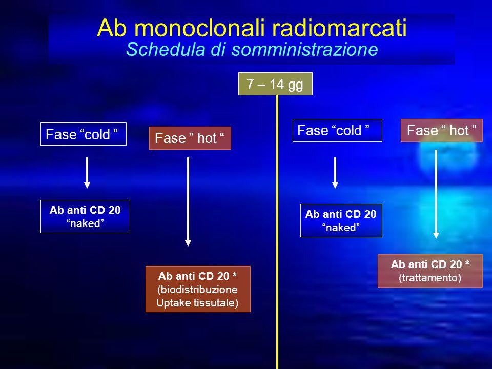 Ab monoclonali radiomarcati Schedula di somministrazione Fase cold Ab anti CD 20 naked Fase hot Ab anti CD 20 * (biodistribuzione Uptake tissutale) 7
