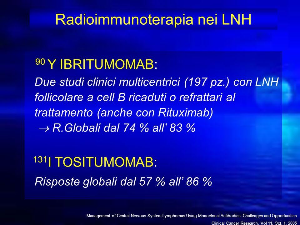 Radioimmunoterapia nei LNH 90 Y IBRITUMOMAB: Due studi clinici multicentrici (197 pz.) con LNH follicolare a cell B ricaduti o refrattari al trattamen