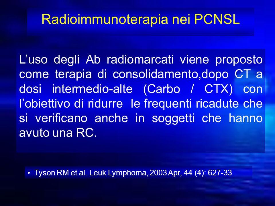 Radioimmunoterapia nei PCNSL Luso degli Ab radiomarcati viene proposto come terapia di consolidamento,dopo CT a dosi intermedio-alte (Carbo / CTX) con