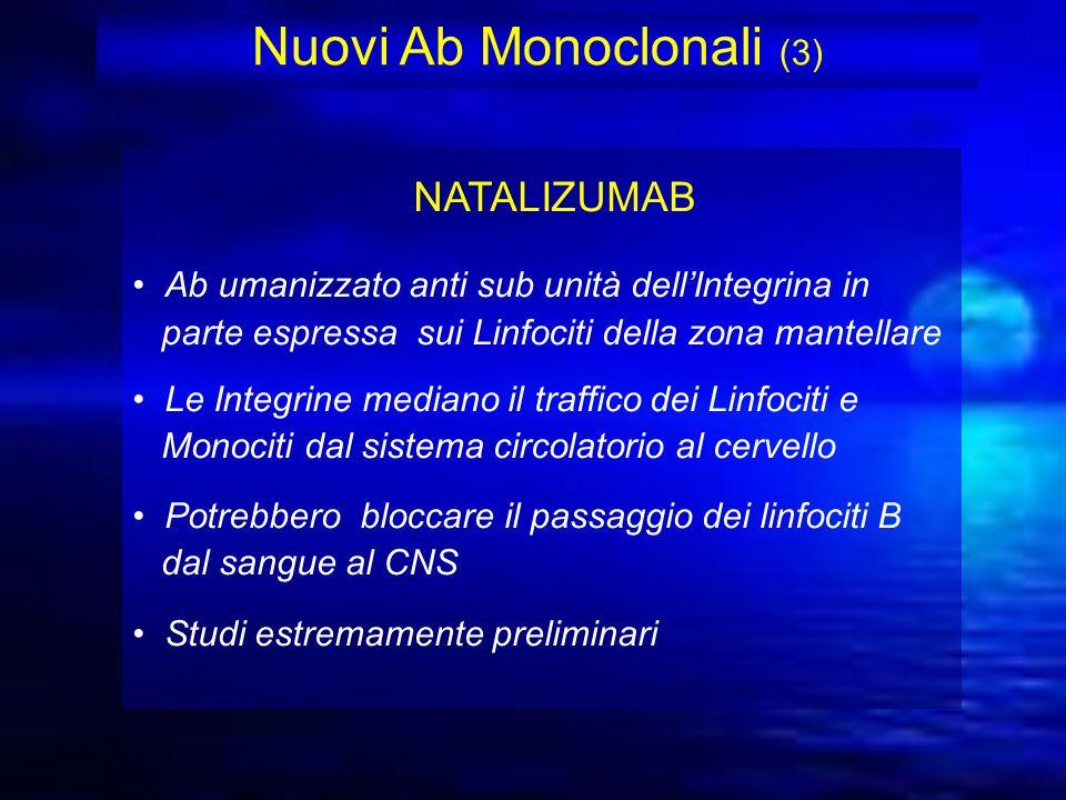 Nuovi Ab Monoclonali (3) NATALIZUMAB Ab umanizzato anti sub unità dellIntegrina in parte espressa sui Linfociti della zona mantellare Le Integrine med