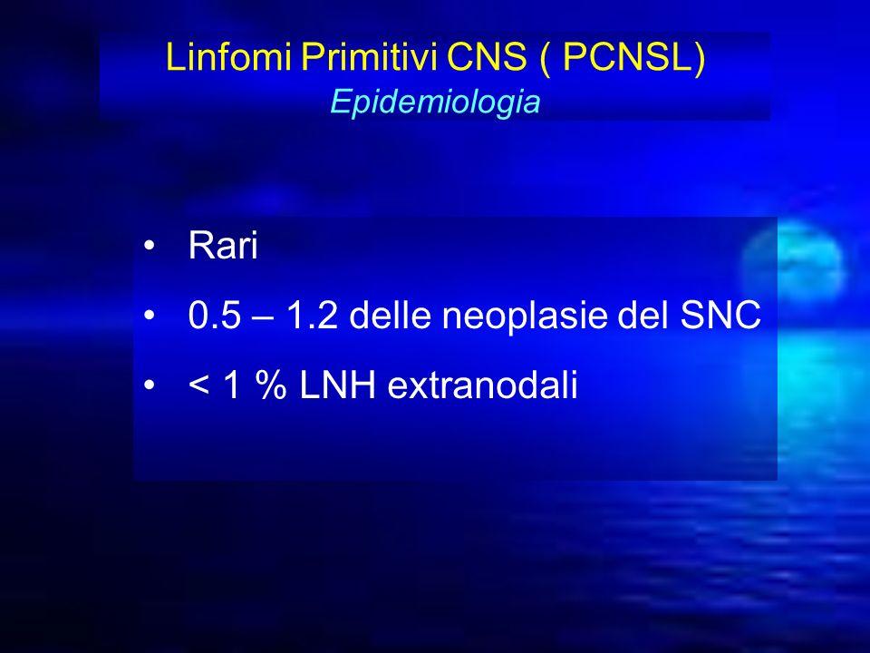Rari 0.5 – 1.2 delle neoplasie del SNC < 1 % LNH extranodali Linfomi Primitivi CNS ( PCNSL) Epidemiologia