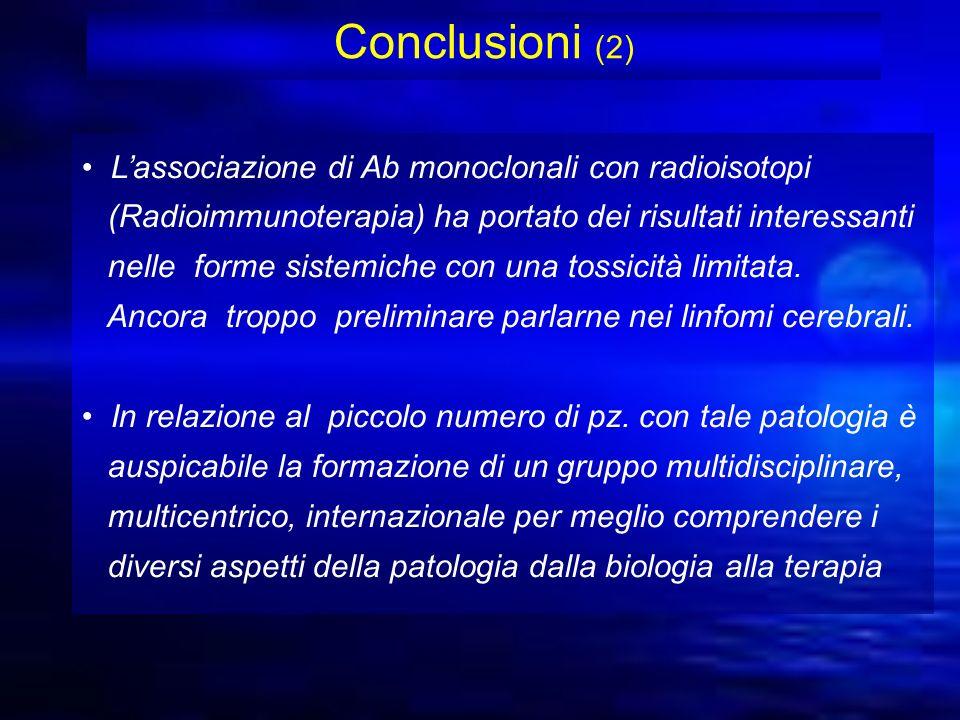 Conclusioni (2) Lassociazione di Ab monoclonali con radioisotopi (Radioimmunoterapia) ha portato dei risultati interessanti nelle forme sistemiche con