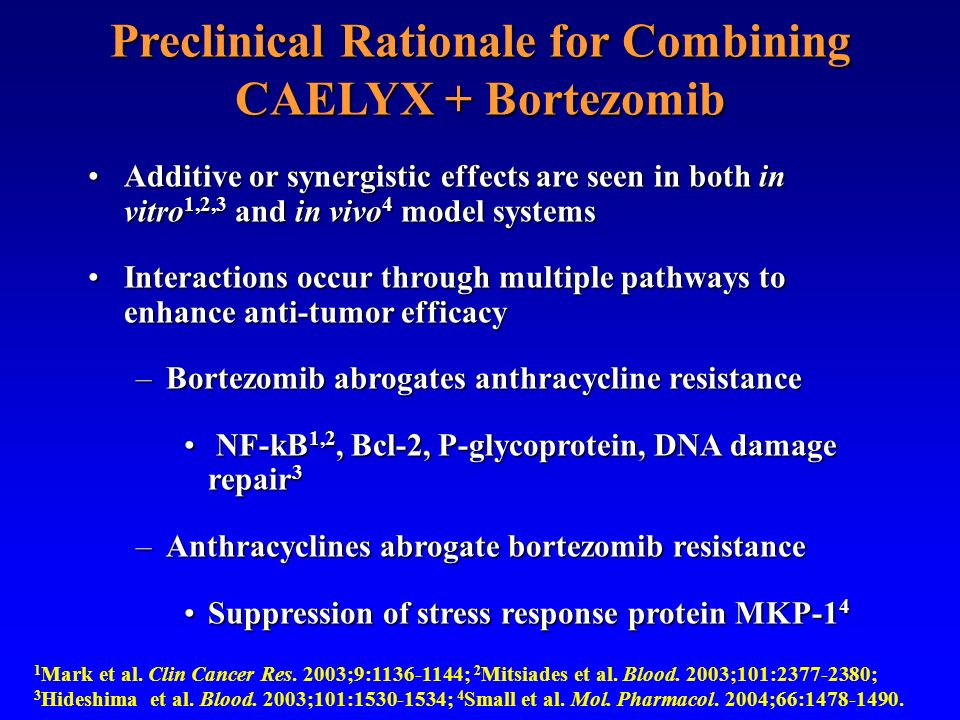 Preclinical Rationale for Combining CAELYX + Bortezomib Additive or synergistic effects are seen in both in vitro 1,2,3 and in vivo 4 model systemsAdd