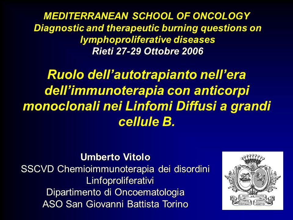Ruolo dellautotrapianto nellera dellimmunoterapia con anticorpi monoclonali nei Linfomi Diffusi a grandi cellule B. MEDITERRANEAN SCHOOL OF ONCOLOGY M