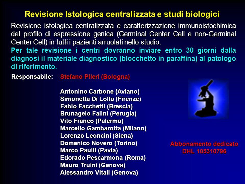 Revisione istologica centralizzata e caratterizzazione immunoistochimica del profilo di espressione genica (Germinal Center Cell e non-Germinal Center