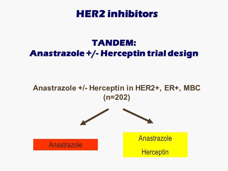 TANDEM: Anastrazole +/- Herceptin trial design Anastrazole +/- Herceptin in HER2+, ER+, MBC (n=202) Anastrazole Herceptin HER2 inhibitors