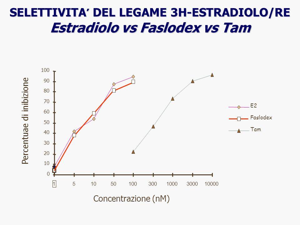 0 10 20 30 40 50 60 70 80 90 100 1 510501003001000300010000 Concentrazione (nM) Percentuae di inibizione E2 Faslodex Tam SELETTIVITA DEL LEGAME 3H-EST