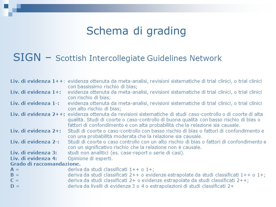 Schema di grading SIGN – Scottish Intercollegiate Guidelines Network Liv.