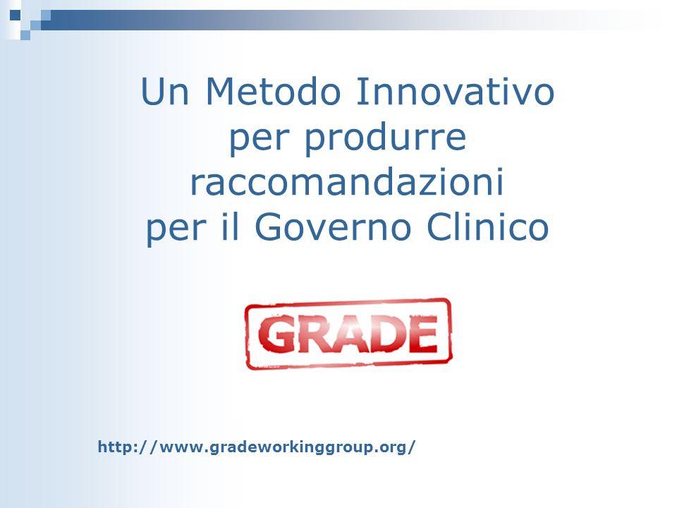 Un Metodo Innovativo per produrre raccomandazioni per il Governo Clinico http://www.gradeworkinggroup.org/