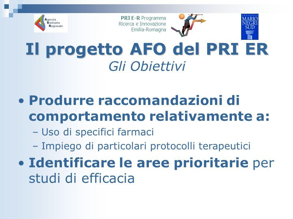 Il progetto AFO del PRI ER Il progetto AFO del PRI ER Gli Obiettivi Produrre raccomandazioni di comportamento relativamente a: –Uso di specifici farmaci –Impiego di particolari protocolli terapeutici Identificare le aree prioritarie per studi di efficacia PRI E-R Programma Ricerca e Innovazione Emilia-Romagna