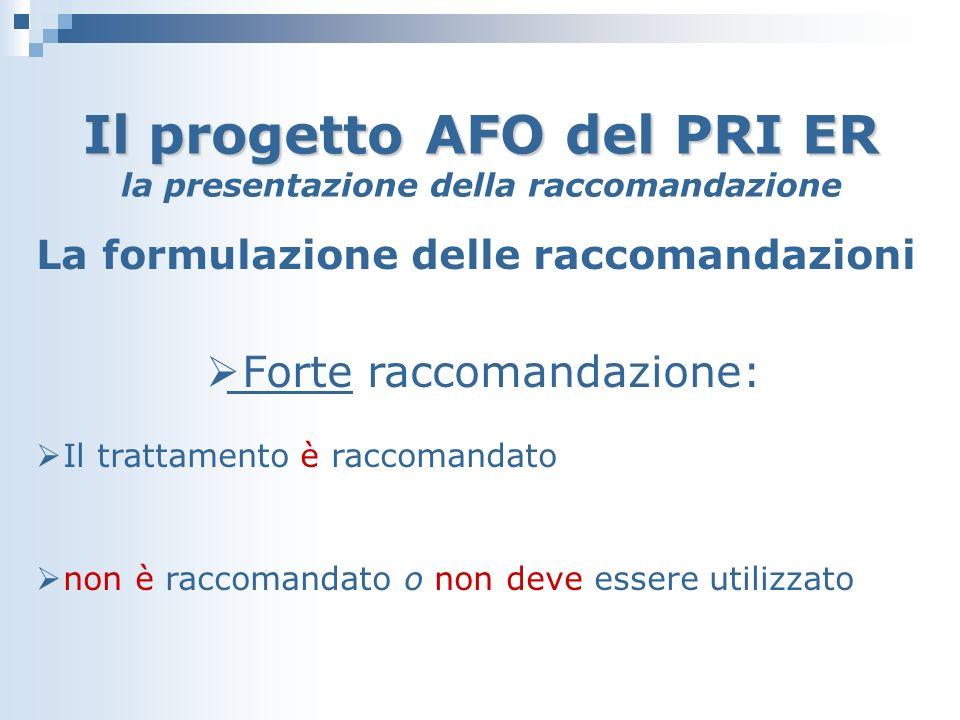 Il progetto AFO del PRI ER Il progetto AFO del PRI ER la presentazione della raccomandazione La formulazione delle raccomandazioni Forte raccomandazione: Il trattamento è raccomandato non è raccomandato o non deve essere utilizzato