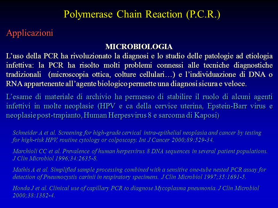 Applicazioni MICROBIOLOGIA Luso della PCR ha rivoluzionato la diagnosi e lo studio delle patologie ad etiologia infettiva: la PCR ha risolto molti pro