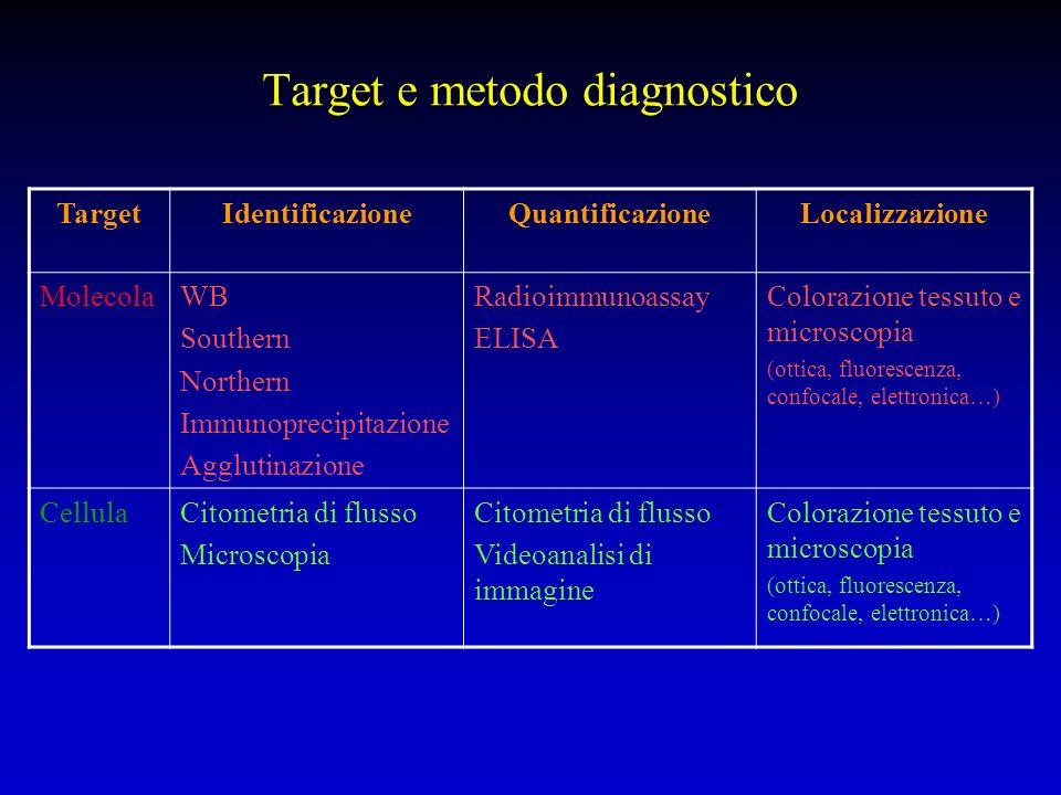 Target e metodo diagnostico TargetIdentificazioneQuantificazioneLocalizzazione MolecolaWB Southern Northern Immunoprecipitazione Agglutinazione Radioi