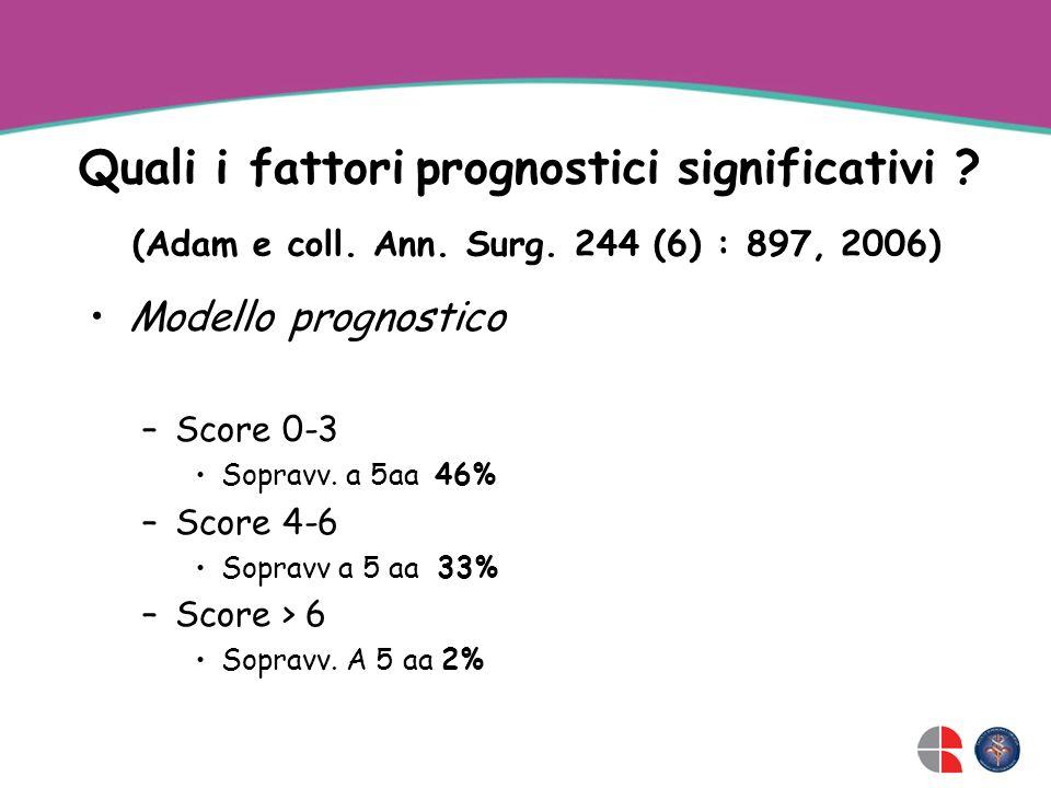 Quali i fattori prognostici significativi .(Adam e coll.