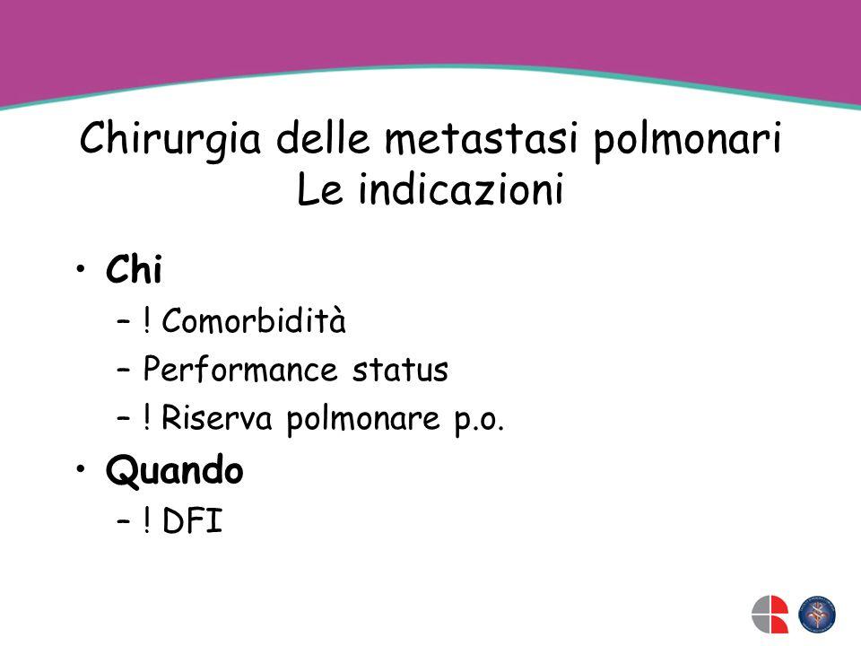 Chirurgia delle metastasi polmonari Le indicazioni Chi –.