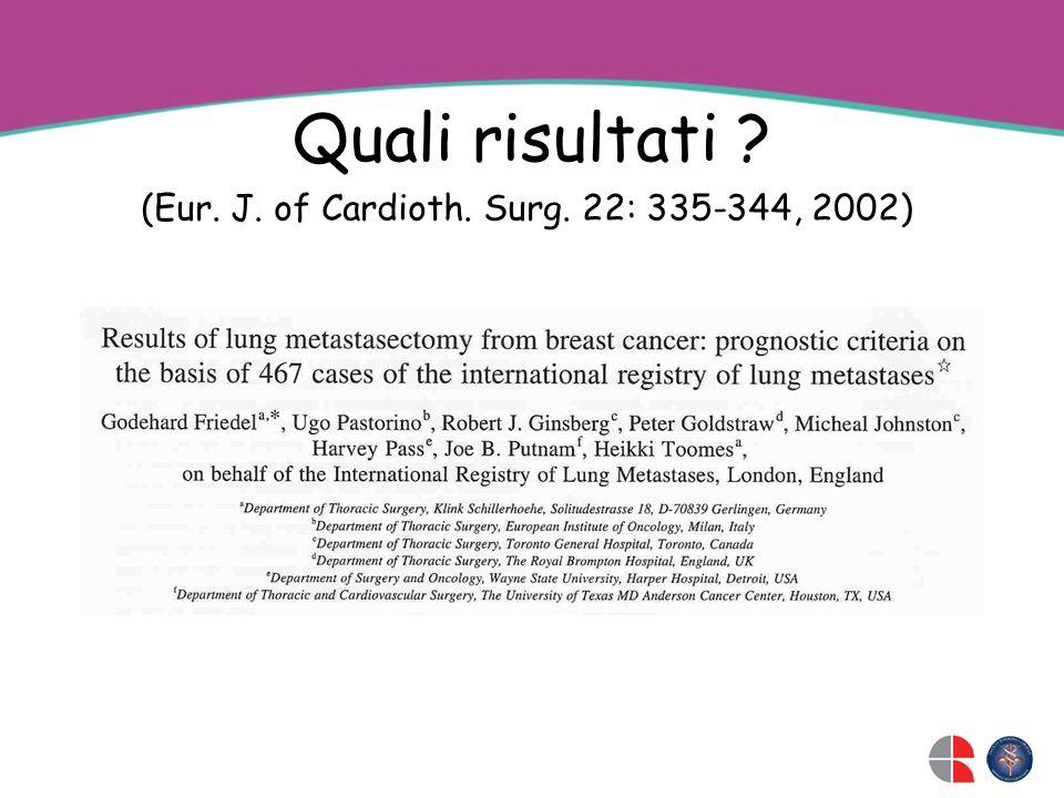 Quali risultati ? (Eur. J. of Cardioth. Surg. 22: 335-344, 2002)