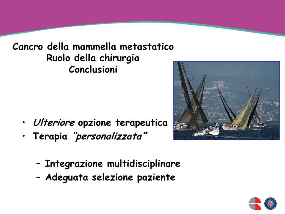 Cancro della mammella metastatico Ruolo della chirurgia Conclusioni Ulteriore opzione terapeutica Terapia personalizzata –Integrazione multidisciplinare –Adeguata selezione paziente