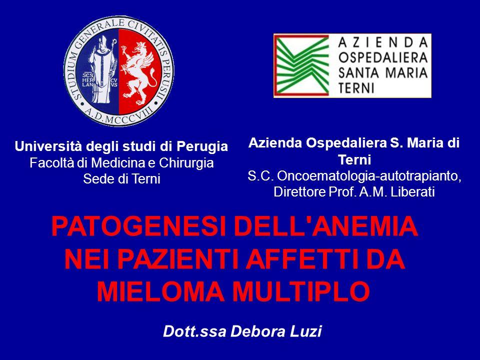 Azienda Ospedaliera S. Maria di Terni S.C. Oncoematologia-autotrapianto, Direttore Prof. A.M. Liberati PATOGENESI DELL'ANEMIA NEI PAZIENTI AFFETTI DA