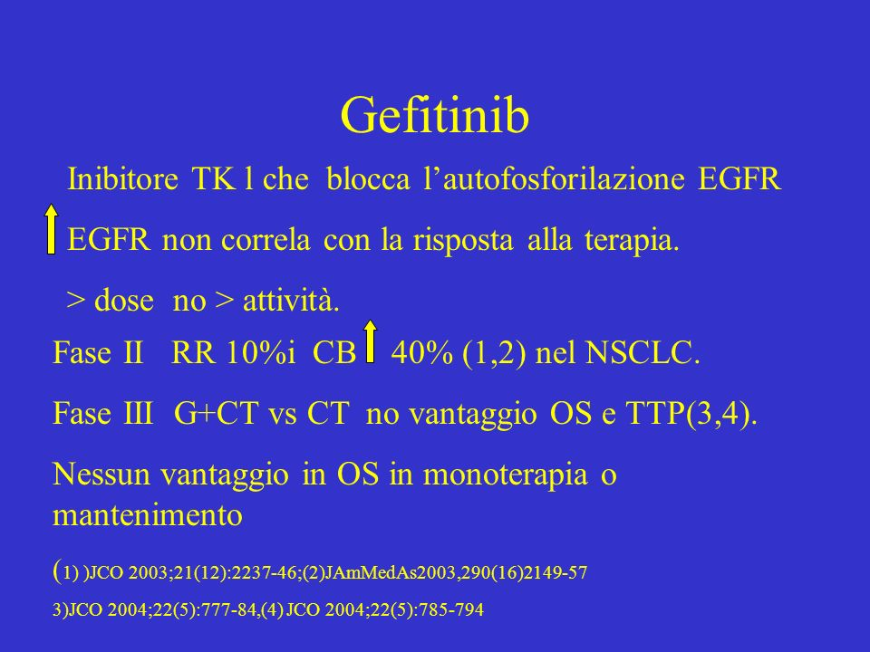 Gefitinib Inibitore TK l che blocca lautofosforilazione EGFR EGFR non correla con la risposta alla terapia. > dose no > attività. Fase II RR 10%i CB 4