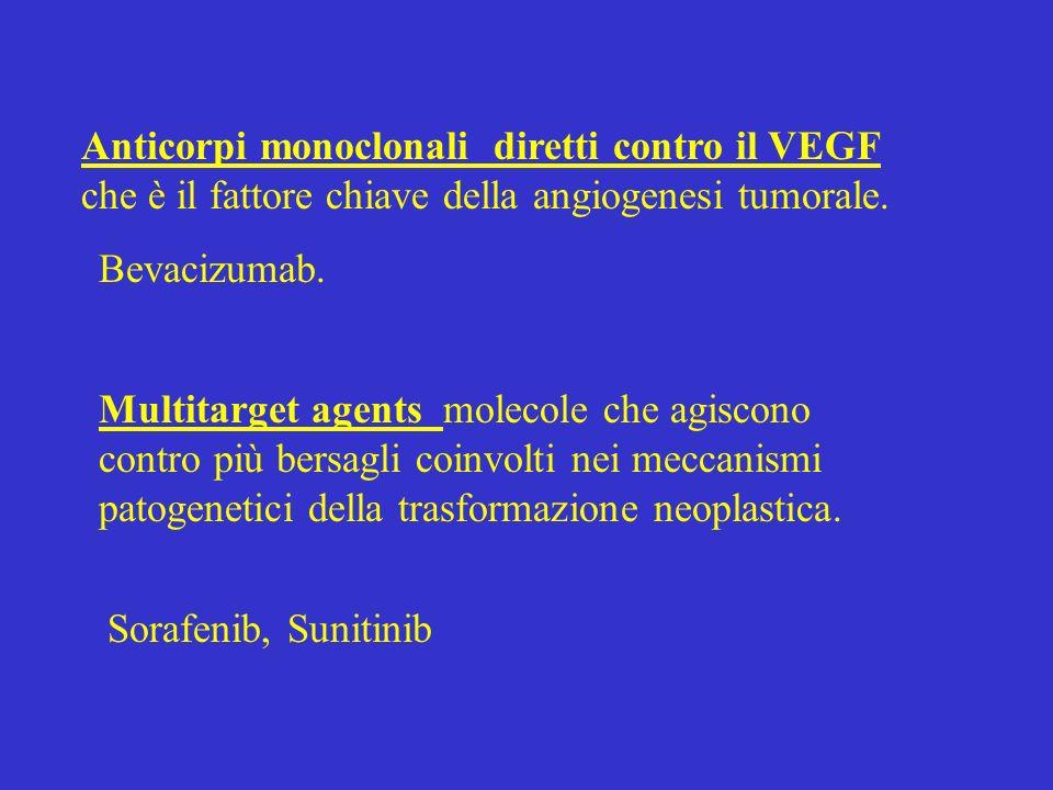 Anticorpi monoclonali diretti contro il VEGF che è il fattore chiave della angiogenesi tumorale. Multitarget agents molecole che agiscono contro più b