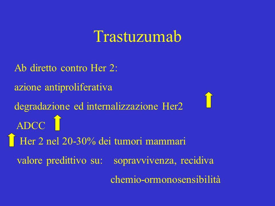 Trastuzumab Ab diretto contro Her 2: azione antiproliferativa degradazione ed internalizzazione Her2 ADCC Her 2 nel 20-30% dei tumori mammari valore p