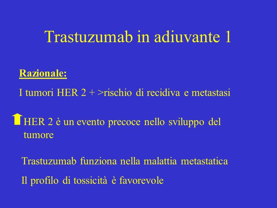 Trastuzumab in adiuvante 1 Razionale: I tumori HER 2 + >rischio di recidiva e metastasi HER 2 è un evento precoce nello sviluppo del tumore Trastuzuma