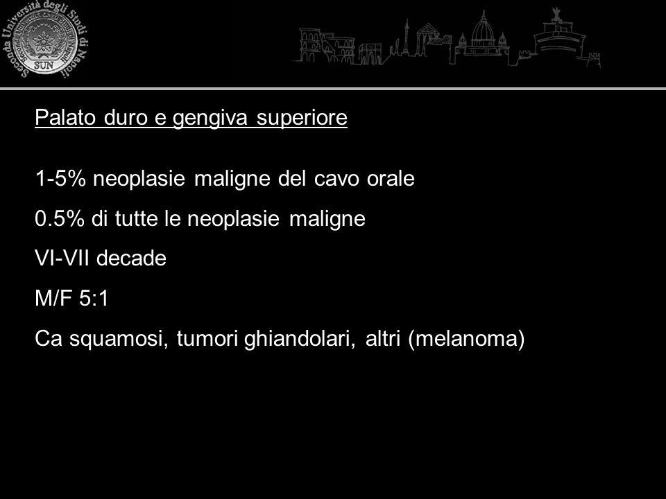 1-5% neoplasie maligne del cavo orale 0.5% di tutte le neoplasie maligne VI-VII decade M/F 5:1 Ca squamosi, tumori ghiandolari, altri (melanoma) Palat