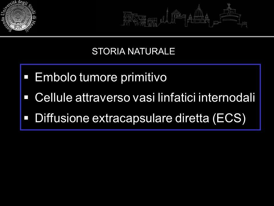 80% M +ECS + ECS: Rottura per massiva infiltrazione tumorale Produzione di collagenasi Elevata aggressività Invasione capsulare evento iniziale (non conseguenza di sconvolgimento strutturale)