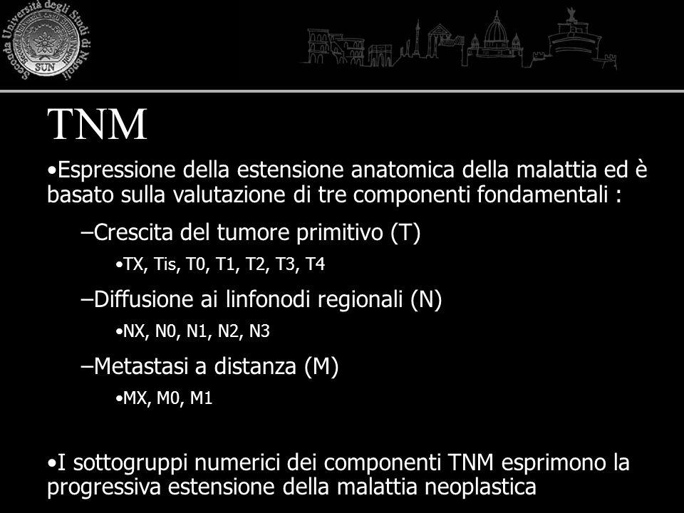 Espressione della estensione anatomica della malattia ed è basato sulla valutazione di tre componenti fondamentali : –Crescita del tumore primitivo (T